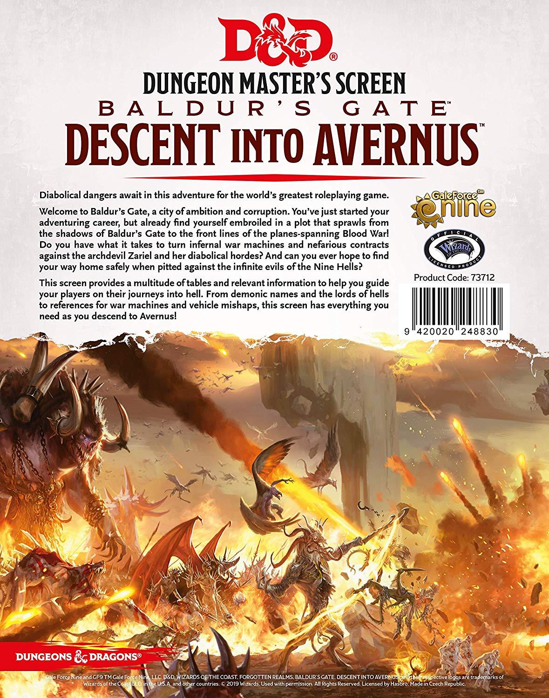 D&D 5.0: Baldur's Gate - Descent Into Avernus - Dungeon Master's Screen
