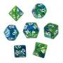 Komplet kości REBEL RPG - Dwukolorowe - Niebiesko-zielone