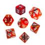 Komplet kości REBEL RPG - Dwukolorowe - Czarno-czerwone