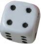 Kość matowa 6 Ścian - 12 mm - Oczka - Biały