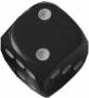 Kość matowa 6 Ścian - 12 mm - Oczka - Czarny